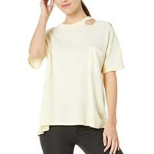 NWT Free People Yellow Lucky Tee. Size L